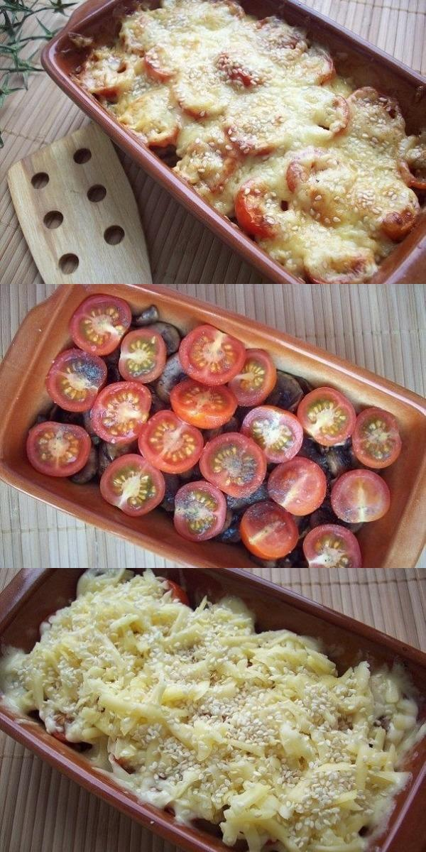 Кабачки, запеченные с шампиньонами и помидорами под сыром — вкуснотище