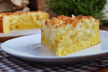 Нежный творожный пирог с яблоками